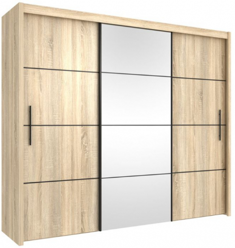 Carlo Sliding Door Wardrobe 251cm in Oak - 2421